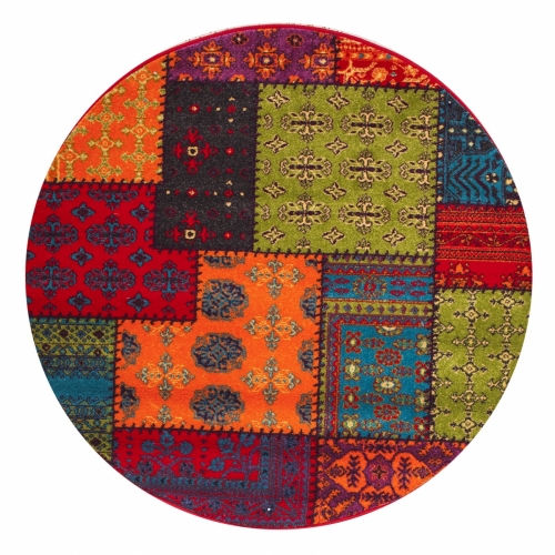Patchwork Multi Color Oval